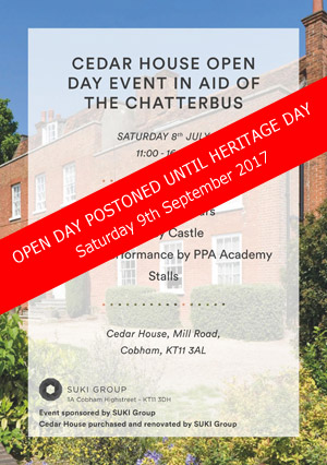 Cedar House Open Day Postponed until 9th Sept 2017 (Heritage Day)